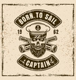 captain skull in hat and two crossed spyglass vector image vector image