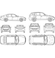 Car sedan and suv line draw four all view top side vector image