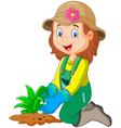 Cartoon she was plants in the garden vector image vector image