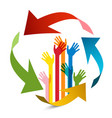 colorful hands wit arrows design vector image vector image
