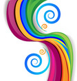 colorful rainbow swirly over white background vector image vector image