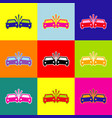 crashed cars sign pop-art style colorful vector image vector image