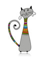 cute cat in cozy sweater sketch for your design vector image