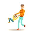 Dad Swinging Son Holding His Hands Happy Family vector image vector image