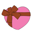 drawing heart with big ribbon bow vector image vector image