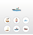 flat icon boat set of boat delivery yacht and vector image