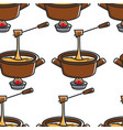 fondue swiss cheese seamless pattern saucepan and vector image vector image
