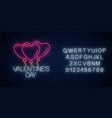 glowing neon sign of valentines day with heart vector image vector image