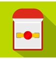 Gold ring with ruby in a red velvet box icon vector image vector image