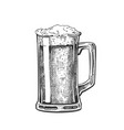 hand drawn mug with froth bubble beer drink vector image vector image