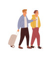 happy friends walking with luggage love couple of vector image