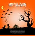 happy halloween pumpkins and cat vector image vector image