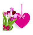 heart banner and flowers vector image vector image