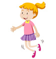 Little girl with happy face skipping vector image vector image