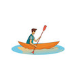 man in boat rowing active lifestyle water sport vector image