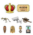 museum set icons in cartoon style big collection vector image vector image