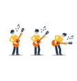 Music band playing live concert three guitarists vector image vector image