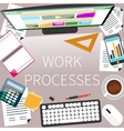 Office desk with keyboard calculator stationery vector image vector image