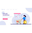 online shopping concept woman with a package and vector image vector image