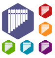 pan flute icons set vector image vector image