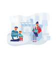 parents with children on christmas eve at home vector image vector image