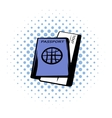 Passport with tickets comics icon vector image vector image