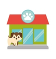 puppy little brown pet shop facade paw print vector image vector image