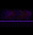 retrowave purple laser perspective grid with vector image