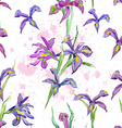 seamless texture watercolor flowers iris vector image vector image