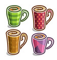 set abstract icons tea cup vector image vector image