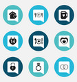 set of 9 editable passion icons includes symbols vector image