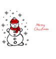 snowman its snowing snowflakes winter hand vector image
