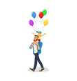 son celebrating holiday with dad cartoon vector image
