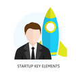Startup Key Elements Flat Design Icon vector image