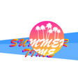 summer time banner with sun and palm tree vector image vector image