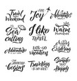 typography hand writing set motivation words and vector image