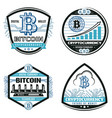vintage colored crypto currency emblems set vector image vector image