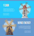 wind energy flyers with old windmill buildings vector image