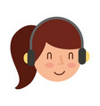 young woman with earphone vector image vector image