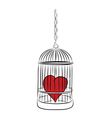 cage with red heart vector image