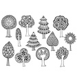 Hand drawn set of trees in doodle style vector image