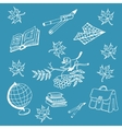 Doodle back to school on blue background vector image