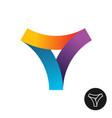 abstract triangle colorful ribbon logo vector image vector image