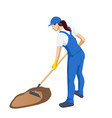 agricultural work woman working in garden vector image