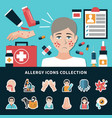 allergy icons collection vector image vector image