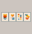 art compositions with hearts for posters cards vector image vector image