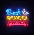 back to school welcome greeting card design vector image vector image
