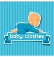 background with sticker baclothes for newborns vector image vector image