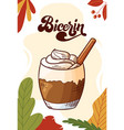 bicerin cup hot drink for christmas menu vector image vector image