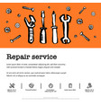 car service concept set with car parts and tools vector image